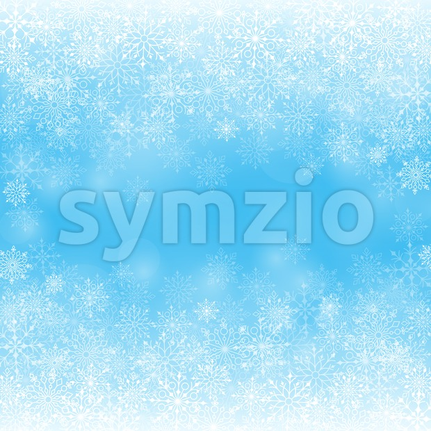 Winter Snow Background with Different Snowflakes Stock Vector