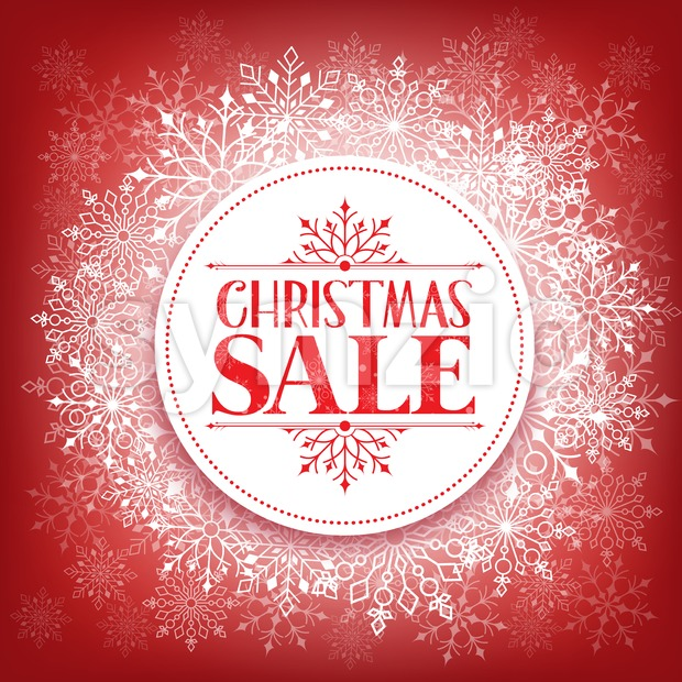 Merry Christmas Sale Vector in Winter Snow Flakes Background with White Space for Text Vector Illustration. This christmas vector was design with ...