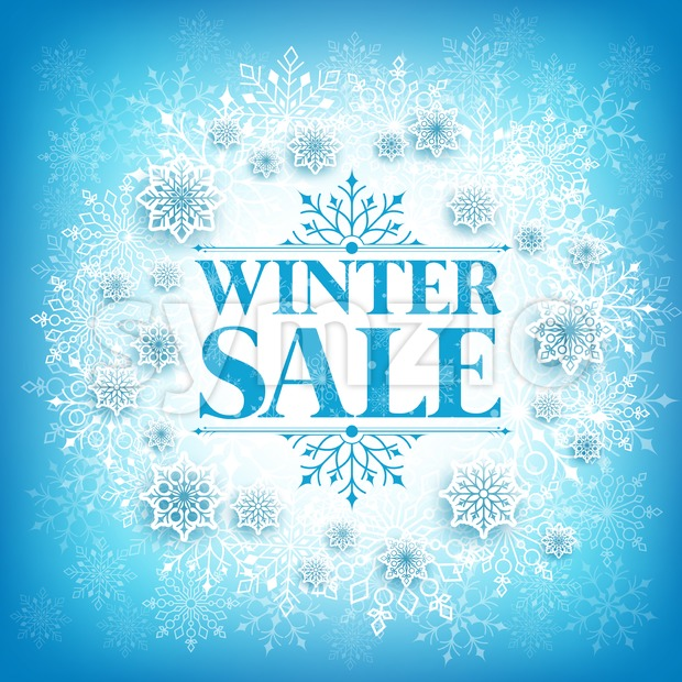 Vector Winter Sale Text in White Space with Snow Stock Vector