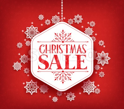 Vector Christmas Sale in Winter Snow Flakes Stock Vector