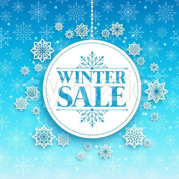 Winter Sale Text in White Space with Snow Stock Vector