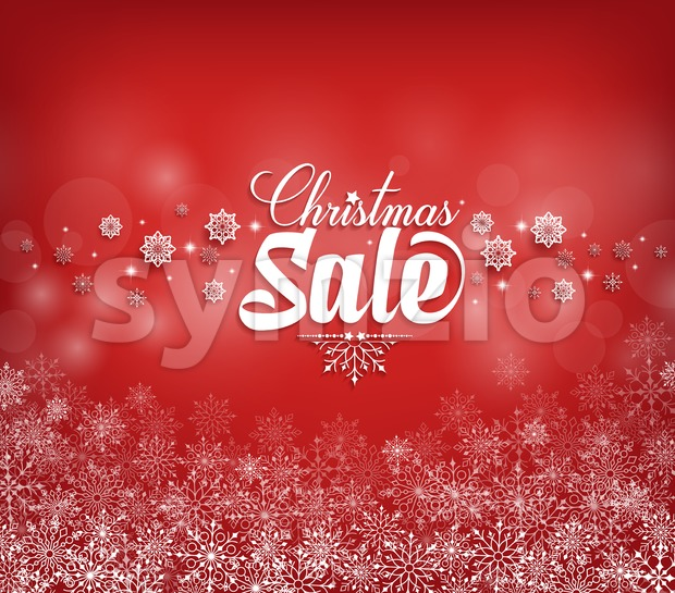 Christmas Sale Text Design with Snow Flakes in Red Background Vector Illustration. This christmas vector was design with 3D realistic looks and ...