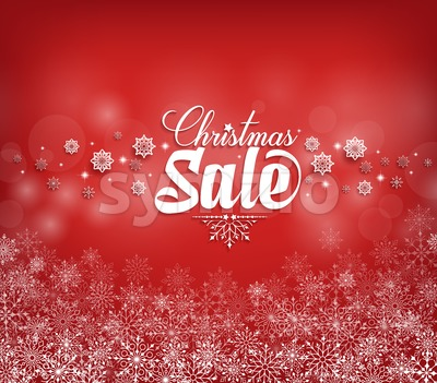 Christmas Sale Text Design with Snow Flakes Stock Vector