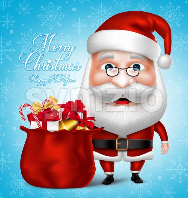 Santa Claus Cartoon Character Holding Bag Stock Vector