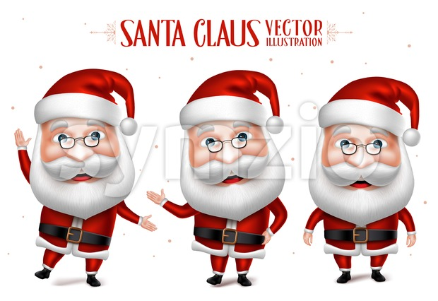Santa Claus Cartoon Character Set for Christmas Stock Vector