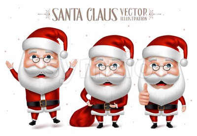 Set of Santa Claus Cartoon Character in Christmas Stock Vector