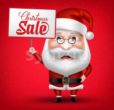 Santa Claus Cartoon Holding Christmas Sale Stock Vector