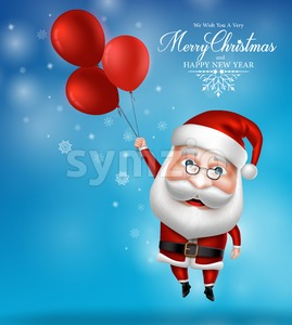 Santa Claus Character Holding Flying Balloons Stock Vector