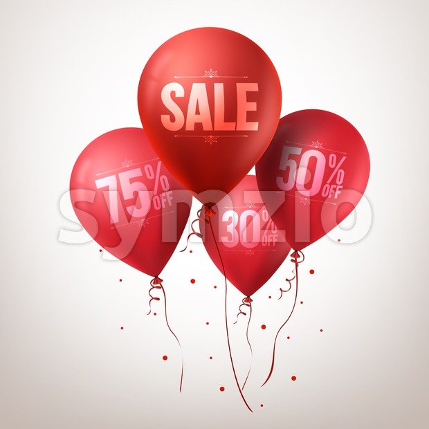 3d Realistic Colorful Red Sale Balloons Flying for Christmas Promotion Isolated in White Background Vector Illustration.This vector balloons was design ...
