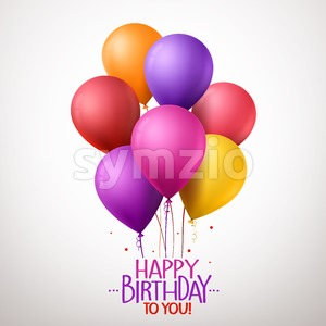 Colorful Happy Birthday Balloons Flying for Party Stock Vector