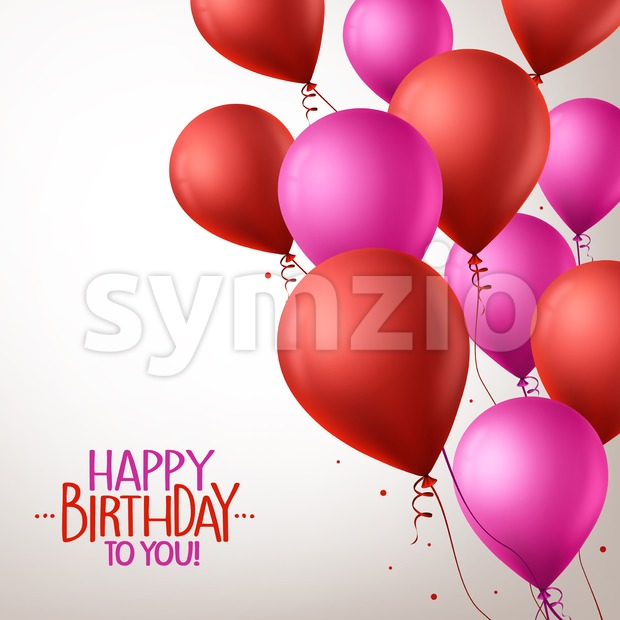 Colorful Pink and Red Happy Birthday Balloons Stock Vector