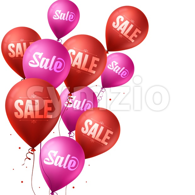 3d Realistic Colorful Pink and Red Sale Balloons Flying for Christmas and Winter Promotion Isolated in White Background Vector Illustration.This ...