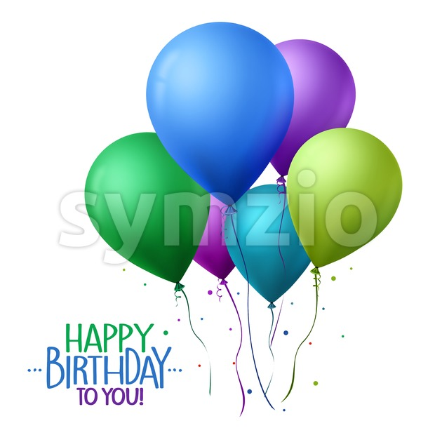 Realistic Colorful Happy Birthday Balloons Vector Stock Vector