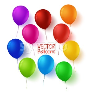 Colorful Set of Vector Birthday Balloons Stock Vector