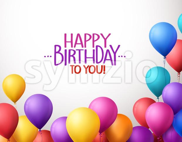 Happy Birthday Balloons Colorful Bunch in Vector Stock Vector