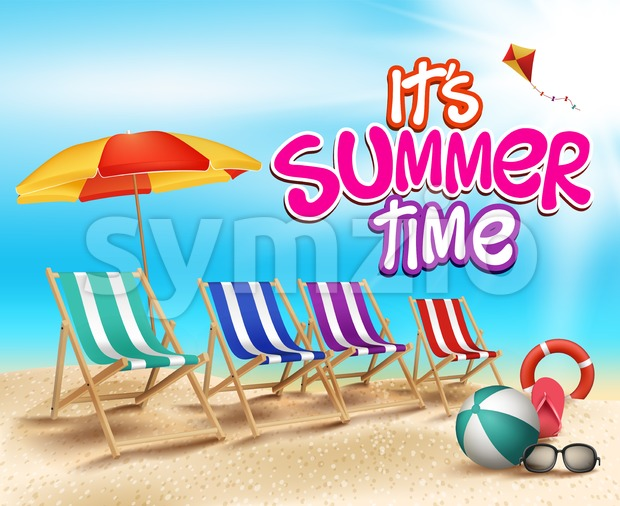 Summer Time Vector Illustration in Beach Stock Vector