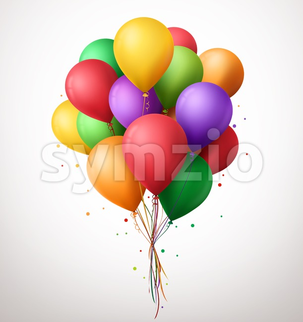 Vector Colorful Birthday Balloons Flying on Party Stock Vector