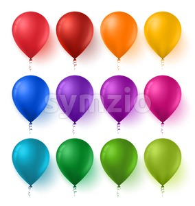 Set of Vector Birthday Balloons with Glossy Stock Vector