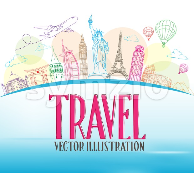Design Background Vector Travel Concept of Line Drawing for Famous Landmarks and Tourist Destination Around The World Vector Illustration. This vector travel illustration was ...