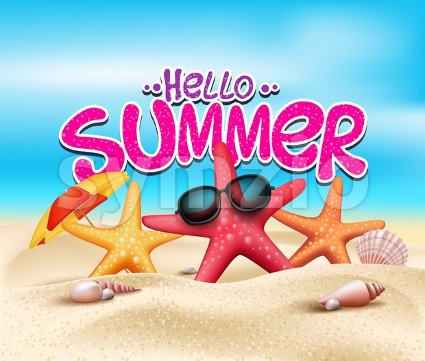 Hello Summer in Beach Seashore Vector Stock Vector