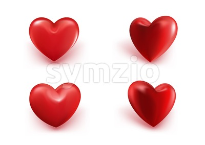 Sets of Realistic Hearts Vector Illustration Stock Vector