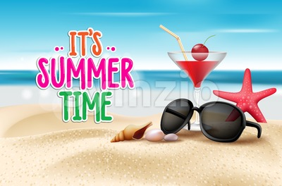 Vector Summer Time Title in Sand Stock Vector