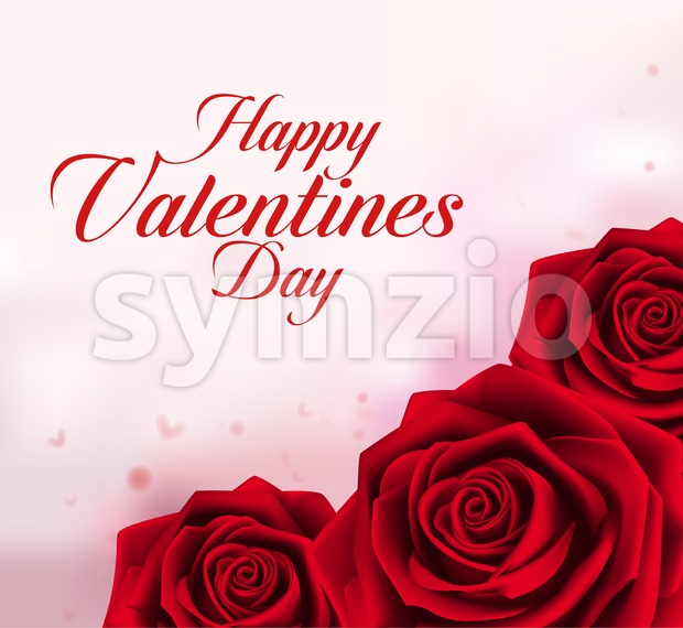 Vector Valentines Background with Red Roses Stock Vector
