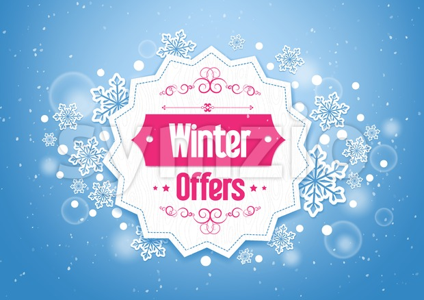 Vector Winter Offers Title In A Snow Background Stock Vector