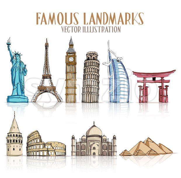 Set of Colorful Drawing of Famous and Popular Landmarks for Traveling Isolated in White Background Vector Illustration. This vector travel illustration was design ...