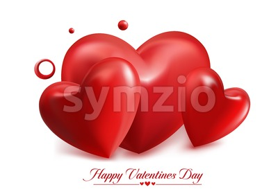 Valentines Day in Red Balloon Hearts Vector Stock Vector