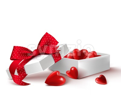 Vector Gift Box of Balloon Hearts Vector Stock Vector