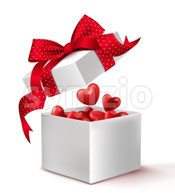 Realistic 3D Vector White Gift Box with Balloon Hearts Inside Wrap in Red Ribbon for Romantic Valentines Day and Offerings ...