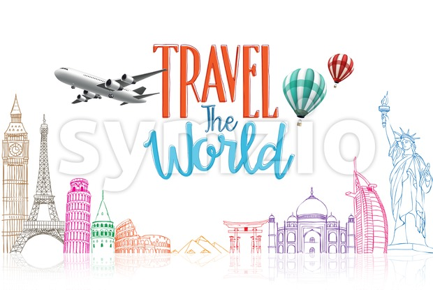 Travel The World Title Concept Design Background of Line Drawing of Famous Landmarks in White Background Vector Illustration. This vector travel illustration was ...