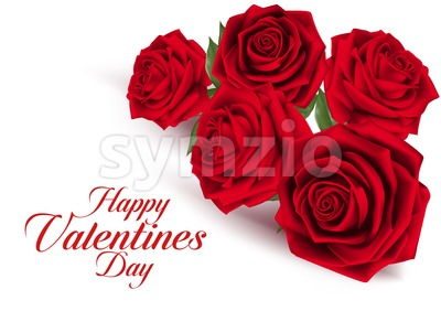 Realistic Red Roses Vector for Sweet Valentines Stock Vector