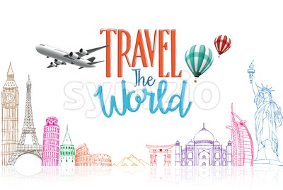 Travel The World Concept Vector Background Stock Vector