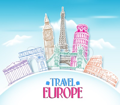 Travel Europe Vector Background Stock Vector