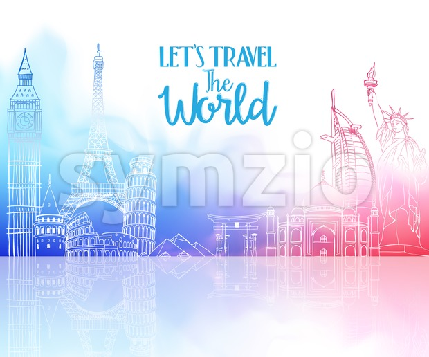 World Landmarks Vector for Travel Design Stock Vector
