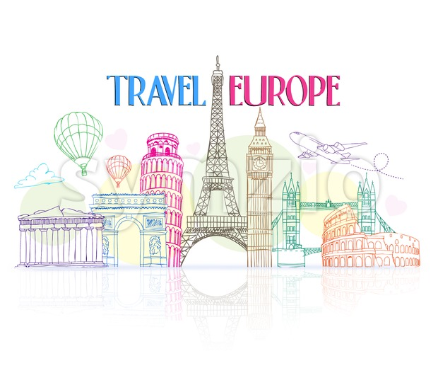 Colorful Travel Europe Hand Drawing with Famous Landmarks and Places in White Background with Reflection Vector Illustration. This vector travel illustration was design ...