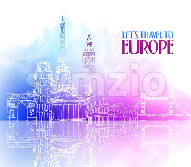 Hand Drawing ofTravel Europe Places and Famous Landmarks Vector Illustration in Colorful Watercolor Background with Reflection.This vector travelillustrationwas design with ...