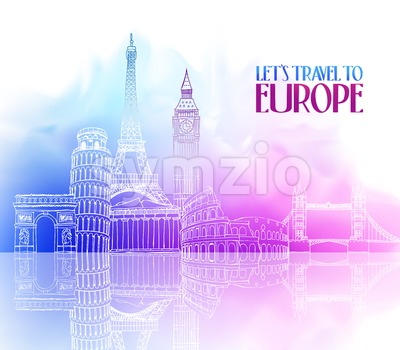Travel Europe Famous Landmarks Vector Stock Vector