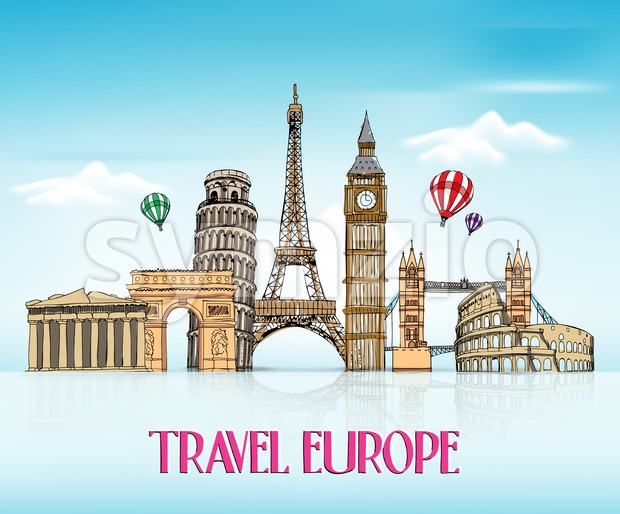 Travel Europe Hand Drawing with Famous Landmarks and Places in Blue Background with Reflection Vector Illustration. This vector travel illustration was design with ...