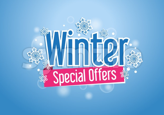 Winter Special Offers Title in Snow Vector Design Stock Vector