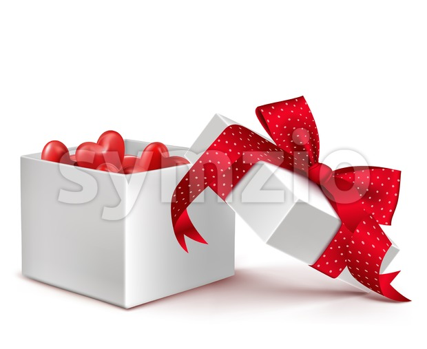 Vector White Gift Box with Balloon Hearts Stock Vector