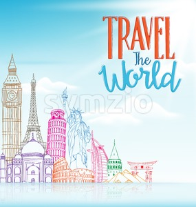 Travel Background Vector in Blue Stock Vector